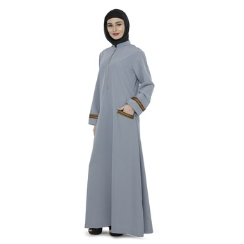Grey Polyester Daily Wear Islamic Look Arabian Style For Women Long Abaya