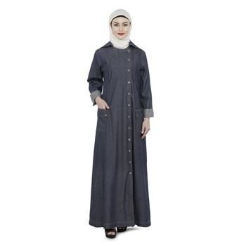 Dark grey Polyester Daily Wear Islamic Look Arabian Style For Women Long Abaya