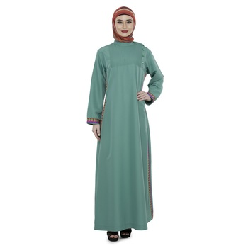 Green Polyester Daily Wear Islamic Look Arabian Style For Women Long Abaya