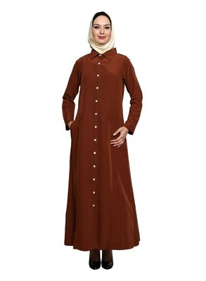 Copper Polyester Daily Wear Islamic Look Arabian Style For Women Long Abaya