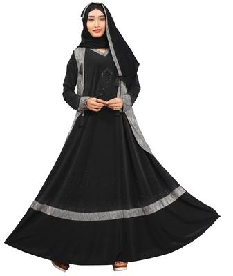 Black & Silver Color Diamond Stone Work Burkha With Hijab