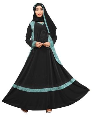 Black & Turqouise Color Dubai Style Burkha With Hijab