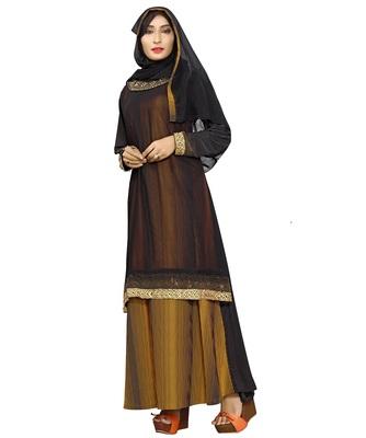Black & Yellow Color Plain Lining Burkha With Hijab