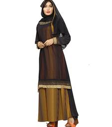 Black & Yellow Color Plain Lining Burkha With Hijab