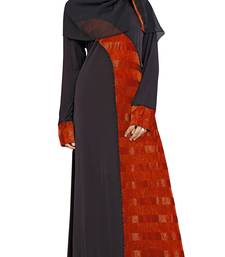 Black & Red Color Straight Abaya Burkha With Hijab