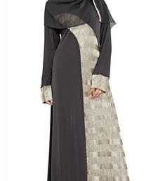 Black & Silver Color Printed Abaya Burkha and Hijab