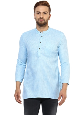 Blue Cotton Handloom Kurta