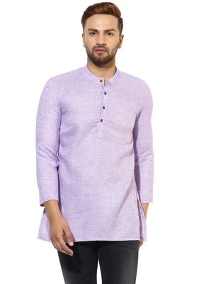 Purple Cotton Handloom Kurta