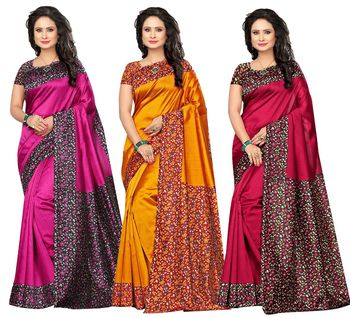 Multicolor printed art silk Combo saree with blouse Pack Of - 3