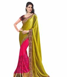 Buy PINK YELLOW embroidered SATIN   CHIFFON JACQUARD GEORGETTE saree wedding-saree online