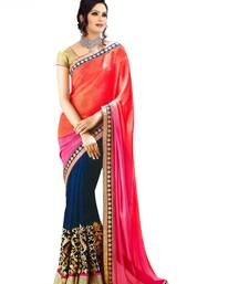 Buy multicolor embroidered georgette saree wedding-saree online