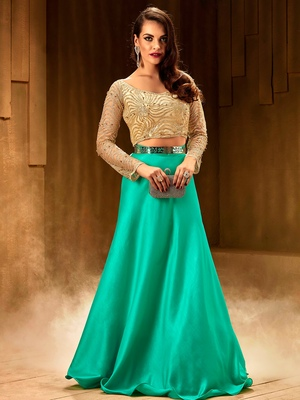 Khwaab Turquoise Silk Embroidered Stitched lehenga choli