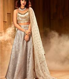 Buy Khwaab Grey Jaquard Embroidered Stitched lehenga choli wedding-dress online