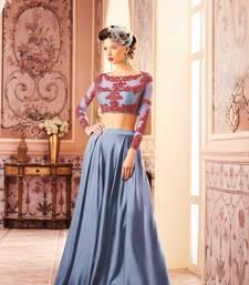 Buy Khwaab Grey Satin Embroidered Stitched lehenga choli wedding-dress online
