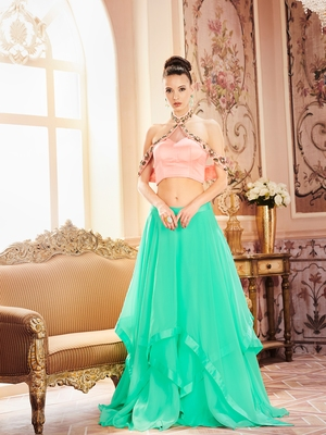 Khwaab Cyan Satin Embroidered Stitched lehenga choli