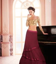 Buy Khwaab Maroon Georgette Embroidered Stitched lehenga choli wedding-dress online