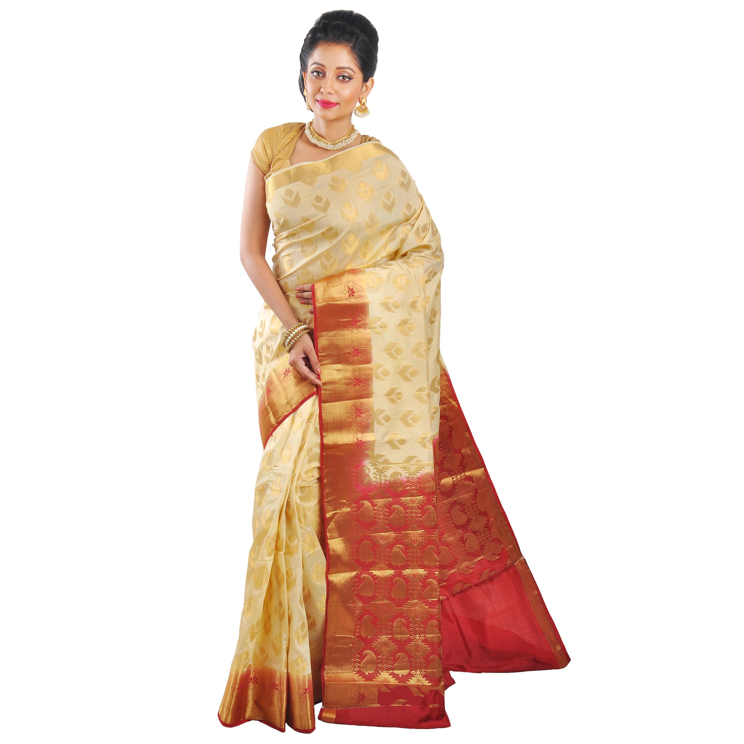 6c7a4e409d Off white woven art silk saree with blouse - Aayori - 2555739