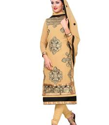Buy Beige embroidered georgette salwar wedding-salwar-kameez online
