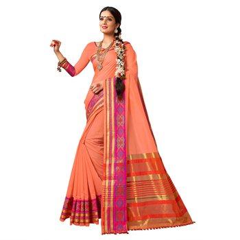 Peach woven cotton silk saree with blouse