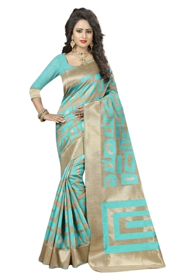 Aqua blue printed art silk saree with blouse