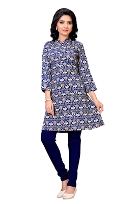 Navy blue printed crepe long-kurtis