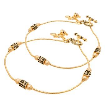 Gold emerald anklets
