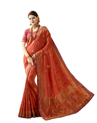 462b29a2eae556 Rust embroidered banarasi silk saree with blouse - Ankit Fashions - 2556533