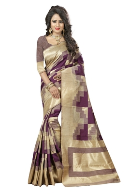 Wine printed art silk saree with blouse