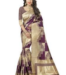 Buy Wine printed art silk saree with blouse uppada-saree online