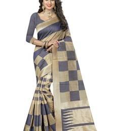 Buy Grey printed kanchipuram silk saree with blouse uppada-saree online