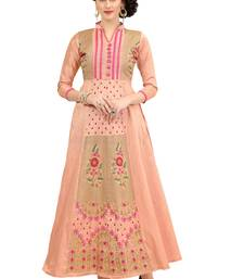 Peach Embroidered Silk Ethnic-Kurtis