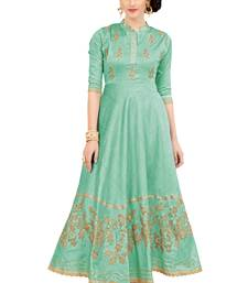 Green Embroidered Silk Ethnic-Kurtis