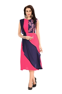 Pink Embroidered Georgette Ethnic-Kurtis