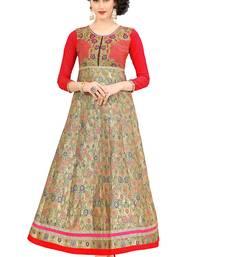 Multicolor embroidered silk ethnic-kurtis