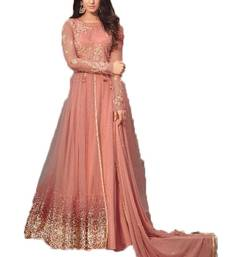 Buy Light-peach embroidered net salwar net-salwar-suit online