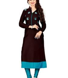 Buy Brown plain rayon kurti kurtas-and-kurtis online