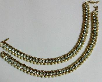 Pearl Anklets with Golden Beads