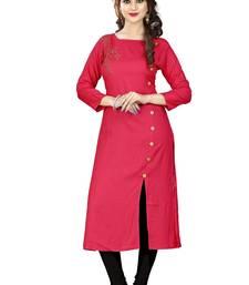 Red plain rayon kurti