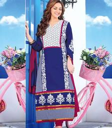 Buy Blue Pink embroidered cotton-silk semi-stitched salwar with dupatta indian-dress online