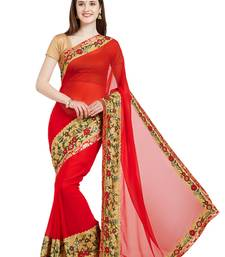 Buy red designer embroidered patch stone and beautiful floral design georgette saree with blouse great-indian-saree-festival online