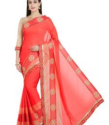 Buy pink designer embroidered patch stone and beautiful floral design chiffon pattern saree with blouse great-indian-saree-festival online