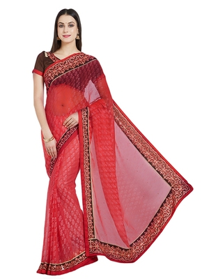 08cd600aa2 pink designer embroidered stone and beautiful floral design brasso saree  with blouse - Indian Women Fashions Pvt Ltd - 2558723