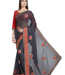 Buy grey designer embroidered patch stone and beautiful floral design georgeete saree with blouse great-indian-saree-festival online