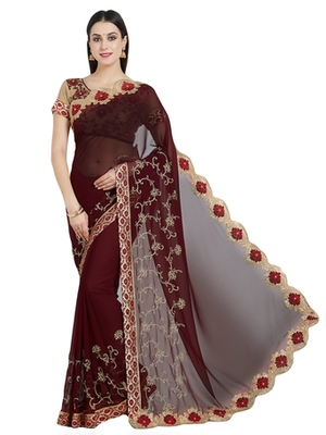maroon designer embroidered patch stone and beautiful floral design georgeete saree with blouse