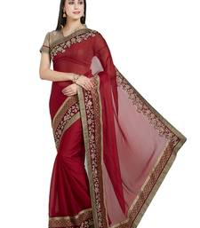 Buy red designer embroidered patch stone and beautiful floral design silk saree with blouse heavy-work-saree online