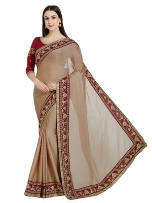 brown designer embroidered patch stone and beautiful floral design chiffon saree with blouse