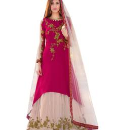 Buy Rani-pink embroidered crepe salwar semi-stitched-salwar-suit online