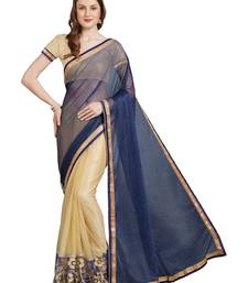Buy Blue embroidered lycra saree with blouse light-weight-saree online