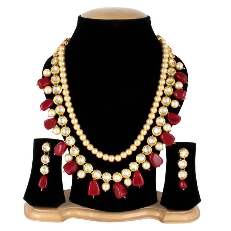 Kanjivaram Beads: Wedding Kundan Pearl Beads Necklace Set For Women Party