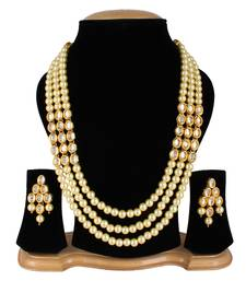 Buy Wedding Kundan Pearl Beads Necklace set for Women Party Wear necklace-set online